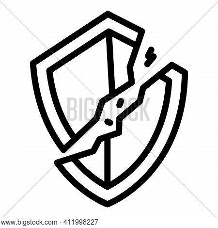 Broken Antivirus Icon. Outline Broken Antivirus Vector Icon For Web Design Isolated On White Backgro