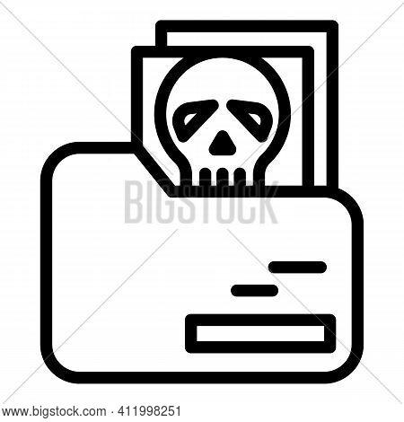 Malware Skull Icon. Outline Malware Skull Vector Icon For Web Design Isolated On White Background