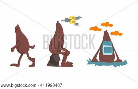Cute Bigfoot In Hiking And Travelling Set, Mythical Creature Cartoon Character Vector Illustration