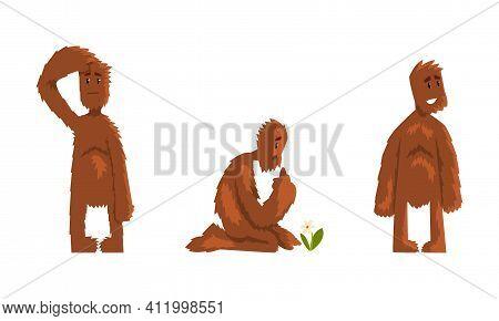 Cute Bigfoot Set, Funny Mythical Creature Cartoon Character Vector Illustration