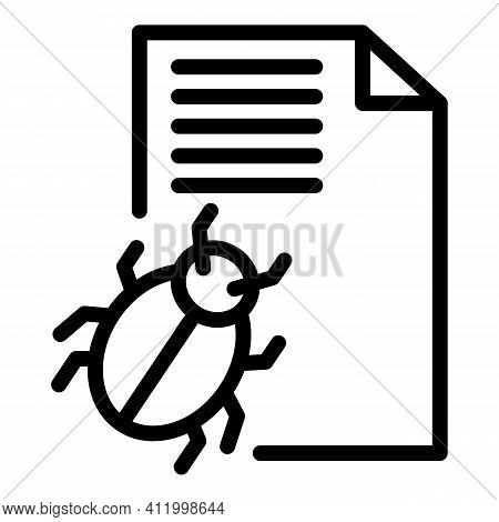 Trojan Bug Icon. Outline Trojan Bug Vector Icon For Web Design Isolated On White Background