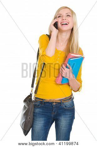 Happy Student Girl Speaking Mobile