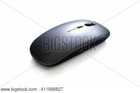 Wireless Computer Mouse Isolated On White Background With Clipping Path, Selective Focus