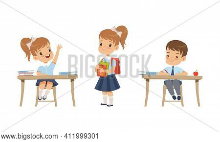 Elementary School Students Studying At School Set, Boys And Girl In School Uniform During Lesson Car