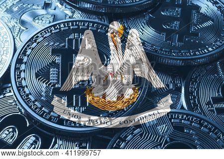 Louisiana Bitcoin Flag, Louisiana Cryptocurrency Concept Background