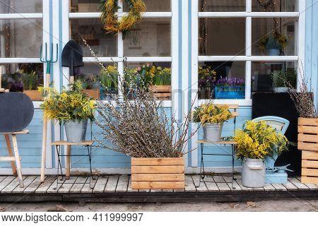 Cozy Spring Decor Veranda. Gardening Concept. Summer Veranda With Chairs. Easter Decor Home. Wooden