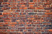Old weathered red brick wall as background poster