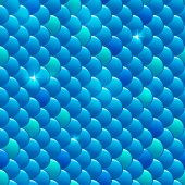 Seamless blue shining river fish scales pattern poster