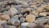 lots of the round pebble stone as background decoration poster