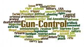 Gun Control Word Cloud on White Background poster