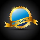 Vector best choice  label with red ribbon. poster