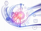 Composition of gears clock elements and abstract design elements on the subject of scheduling temporal and time related processes deadlines progress past present and future poster