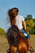 Rear view of young woman in blue jeans riding a horse poster