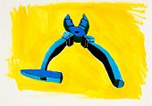 Original abstract water color and hand drawn painting or sketch of a pliers and hammer on yellow background poster
