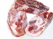 Raw meat three pieces isolated towards white background poster