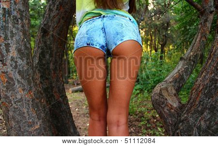 Shorts young sexy woman on nature