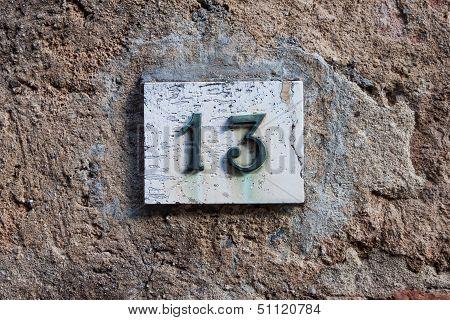 Three Dimensional House Number Thirteen