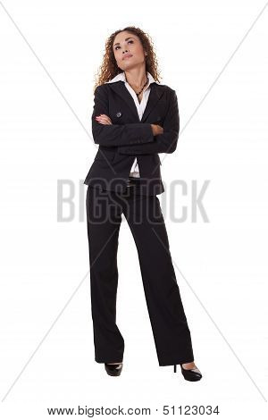 Business Woman Standing, Looking Up.
