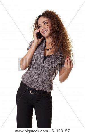 Beautiful Woman Flirting While Talking On Phone.
