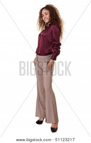 Latina Woman Standing Isolated White Background.