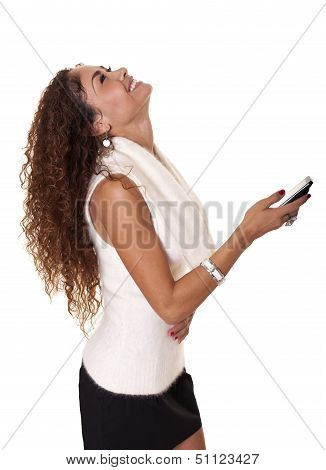 Beautiful Woman Laughs At Her Cell Phone.