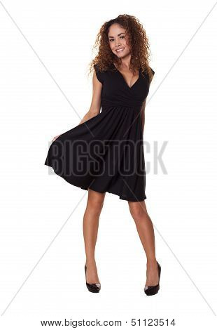 Pretty Woman Dancing Isolated White Background.