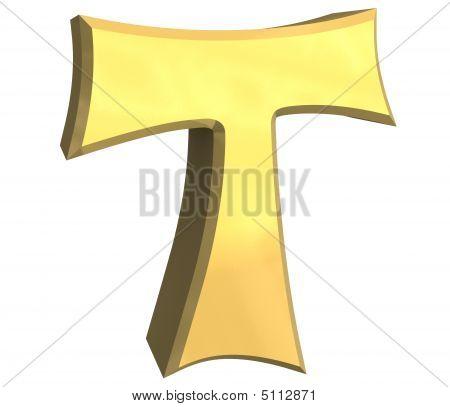 tau cross in gold - 3D