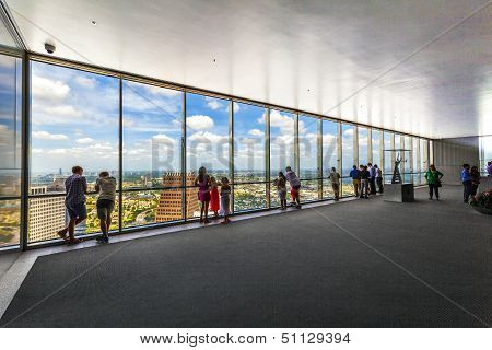 HOUSTON USA - JULY 11, 2013: people enjoy the scenic view from JPMorgan Chase tower  in Houston USA. The visitor platform is open to public during office hours without entrance fee.