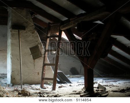 An Old Attic Under A Roof