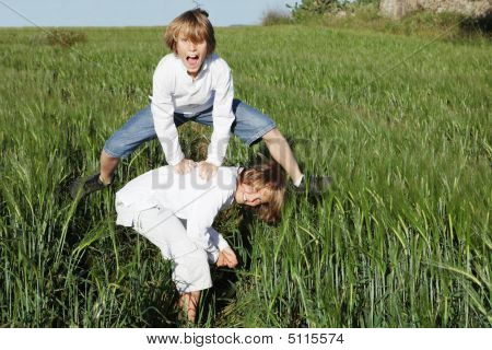 Kids Or Children Playing Leapfrog