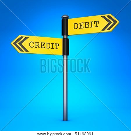 Debit or Credit. Concept of Choice.