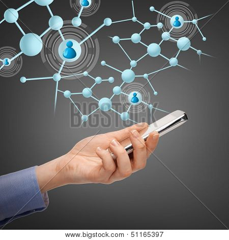 business, technology, internet and networking concept - woman with smartphone and virtual contacts