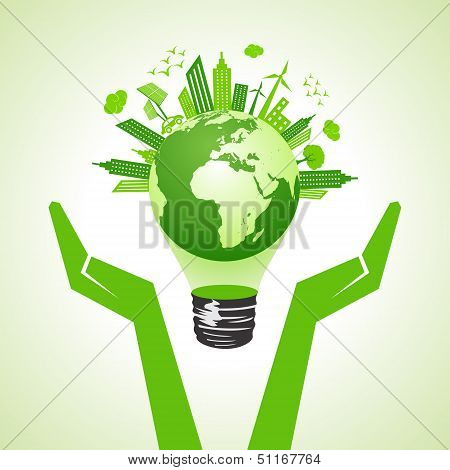 save eco earth with bulb