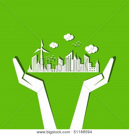 Save nature concept with hands