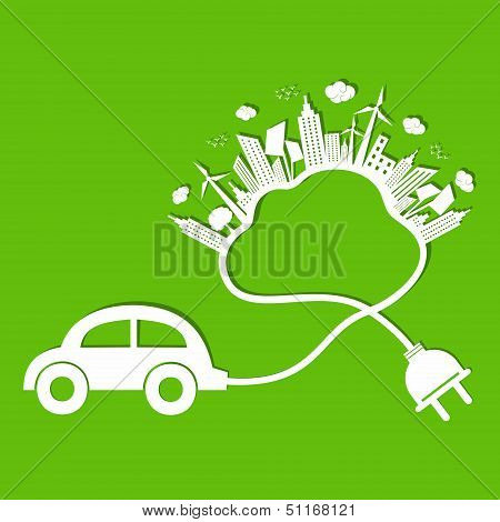 Ecology concept with eco car and cloud