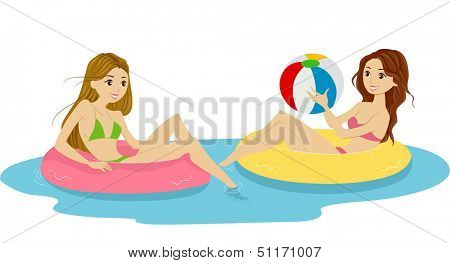 Illustration of Females Sitting on Lifebuoys Playing with a Beach Ball