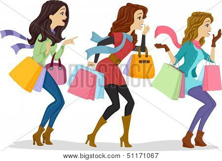 Illustration of Girls Carrying Shopping Bags Facing the Right Side of the Drawing