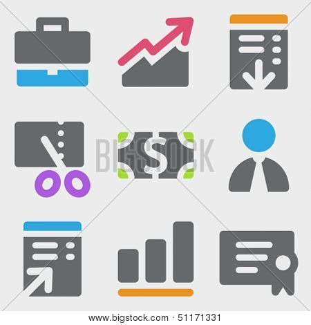 Finance web icons set 1 color icons