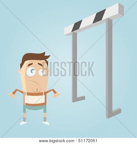 cartoon man and hurdles