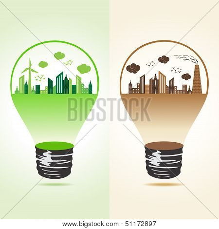 Eco and polluted cityscape in bulb