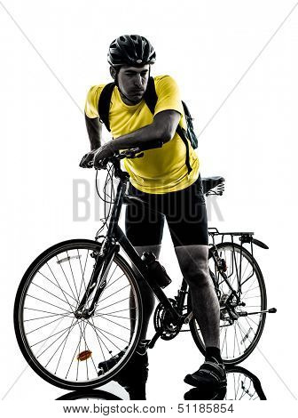 one caucasian man exercising bicycle mountain bike tired breathless    on white background