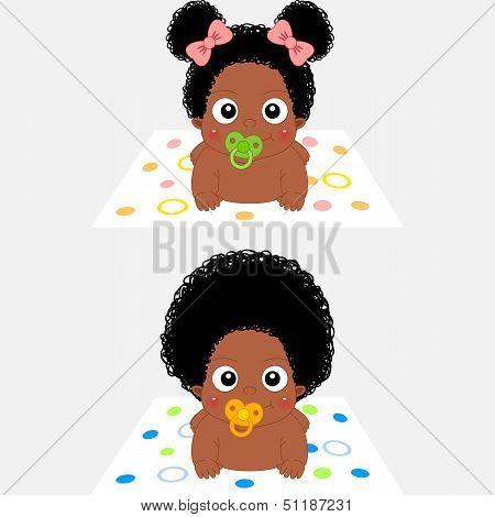 Cute Cartoon African Baby Girl and Boy