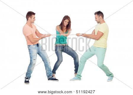 Two guys competing for a girl pulling a rope isolated on a white background