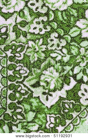 Fragment Of Colorful Retro Tapestry Textile Pattern With Floral Details
