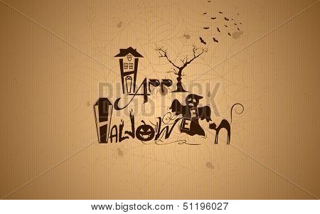 illustration of Halloween typography with haunted house