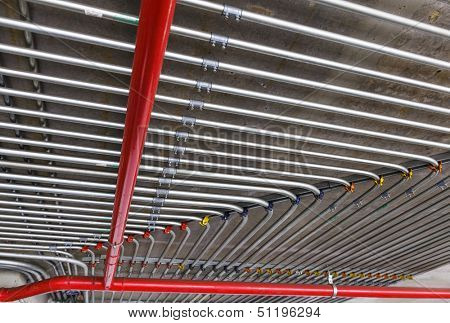 Conduits mounted on ceiling