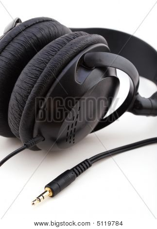Black Headphones With Gold Connection Cord