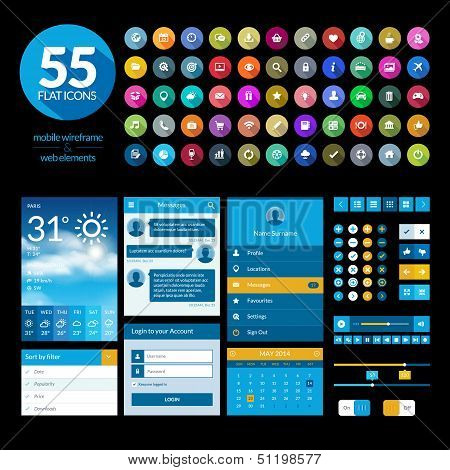 Set of flat design ui elements and icons for mobile app and web design poster