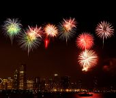 Chicago Skyline at night - with firework illustration poster