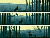 Horizontal abstract banners of wild animals (deer wolf) in hills of forest with trunks of trees in green tone. poster